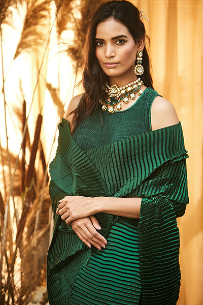 Classy Pleated Gown Saree - Emerald Green