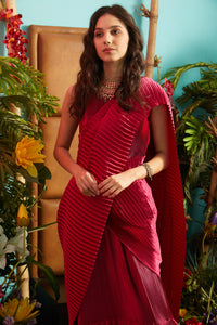 Classy Pleated Gown Saree - Magenta