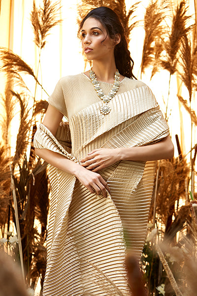 Classy Pleated Gown Saree - Nude