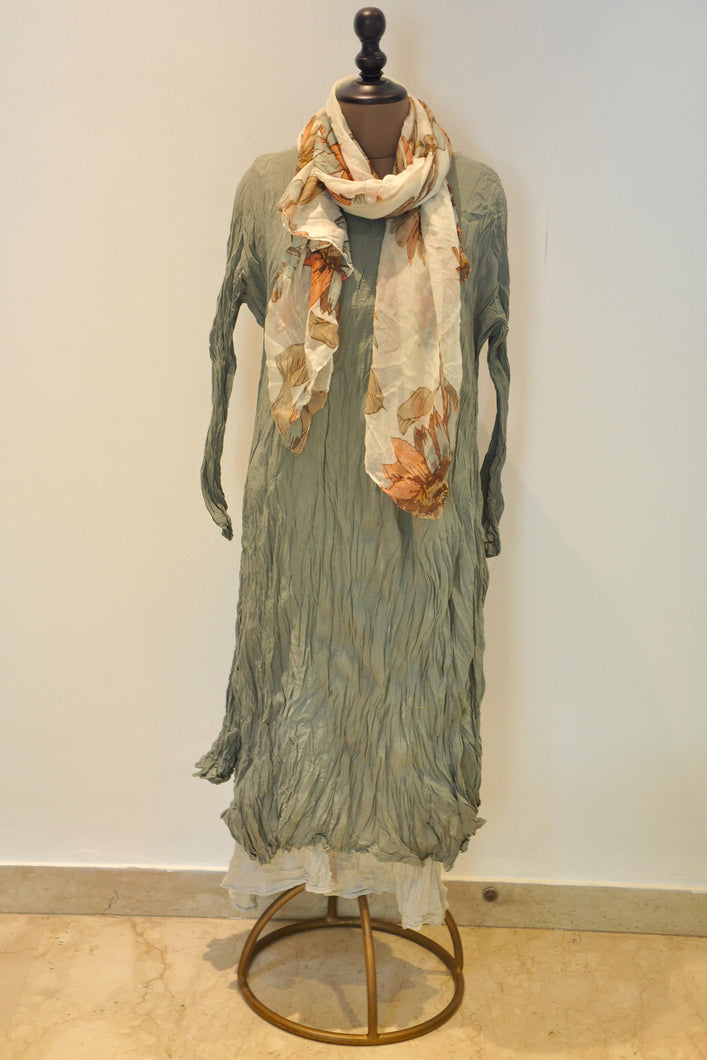 Crushed Long Dress With Scarf- Light Green