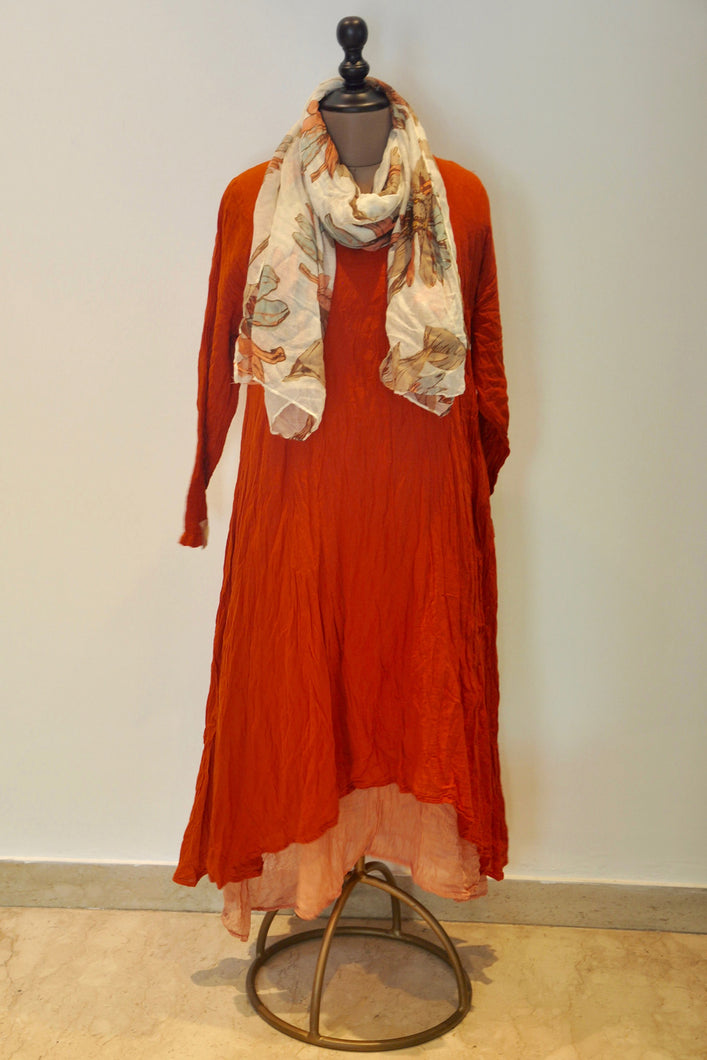 Crushed Long Dress With Scarf- Rust