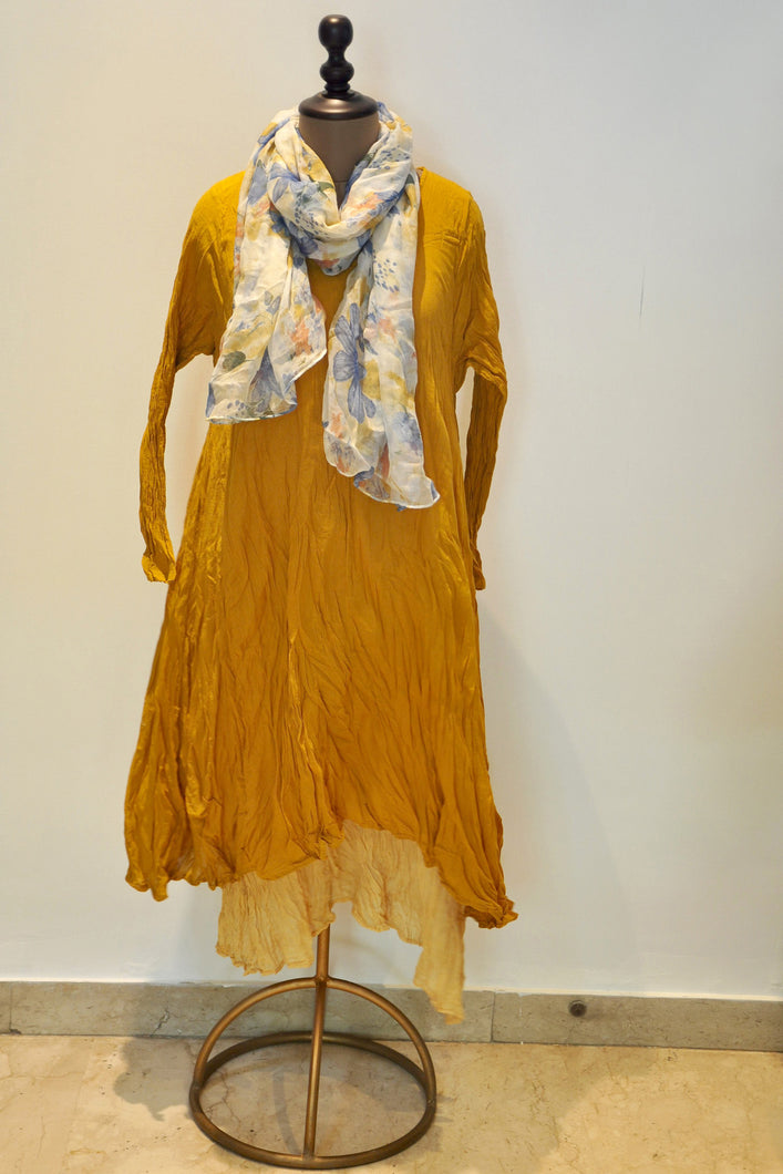 Crushed Long Dress With Scarf- Mustard