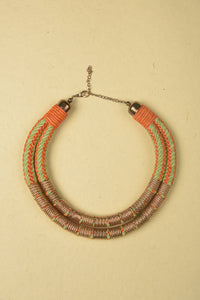 Green & Orange Necklace made of Jute, Suede and Plated Iron Rings