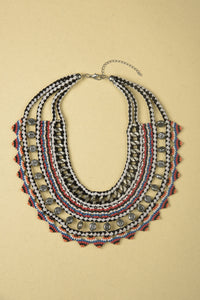 Necklace made of Silver Iron Chains, Beads, Suede and Multicolour Threads