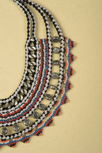 Load image into Gallery viewer, Necklace made of Silver Iron Chains, Beads, Suede and Multicolour Threads