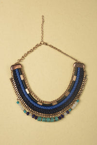 Necklace made of Box Chain, Threads, Suede, Metal Pipes, Beads, Stones and Iron Chain