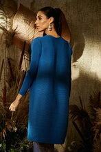 Load image into Gallery viewer, Elegant Pleated & Brocade Tunic Set- Cobalt blue