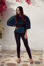Load image into Gallery viewer, Ritzy Kaftan Top with Lace Belt - Emerald Green