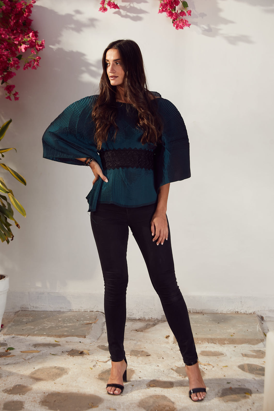 Ritzy Kaftan Top with Lace Belt - Emerald Green