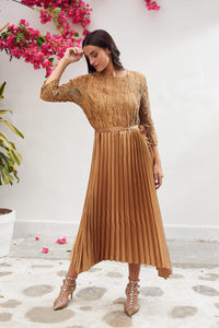 Jenny Crushed Belted Dress - Bronze