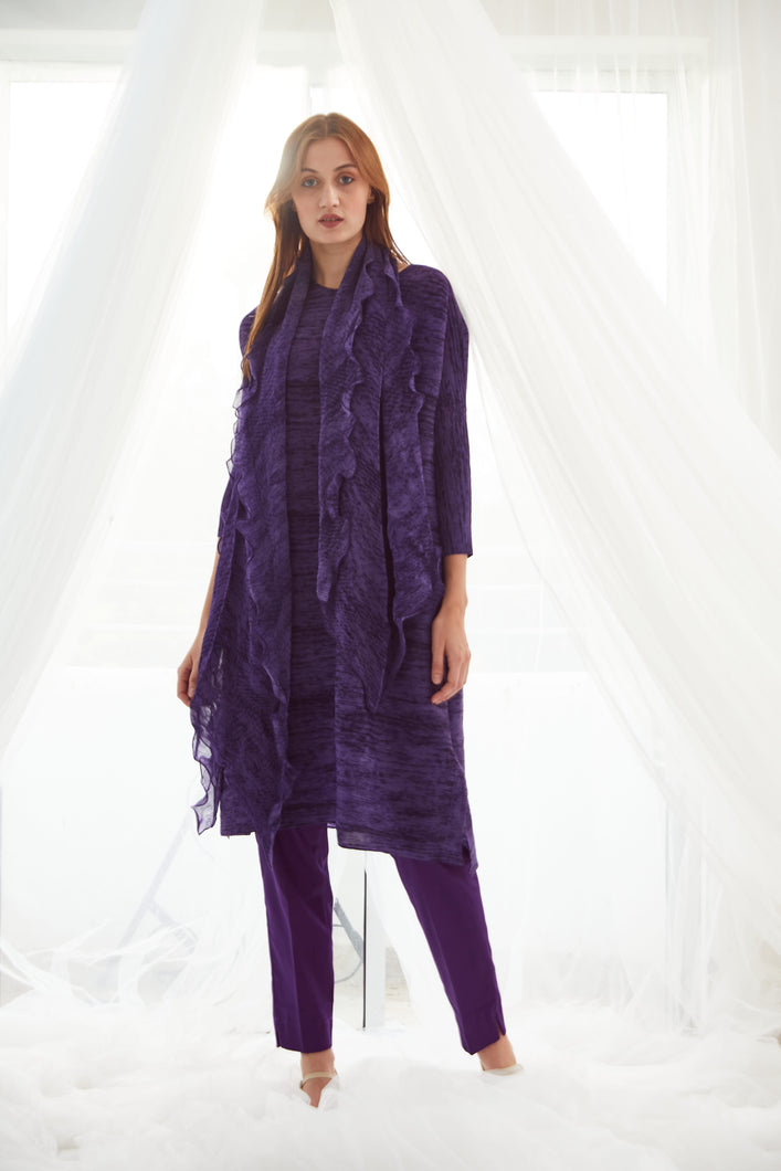 Klassy Kiara Tunic Set with Co- ordinated Scarf and Trouser - Purple