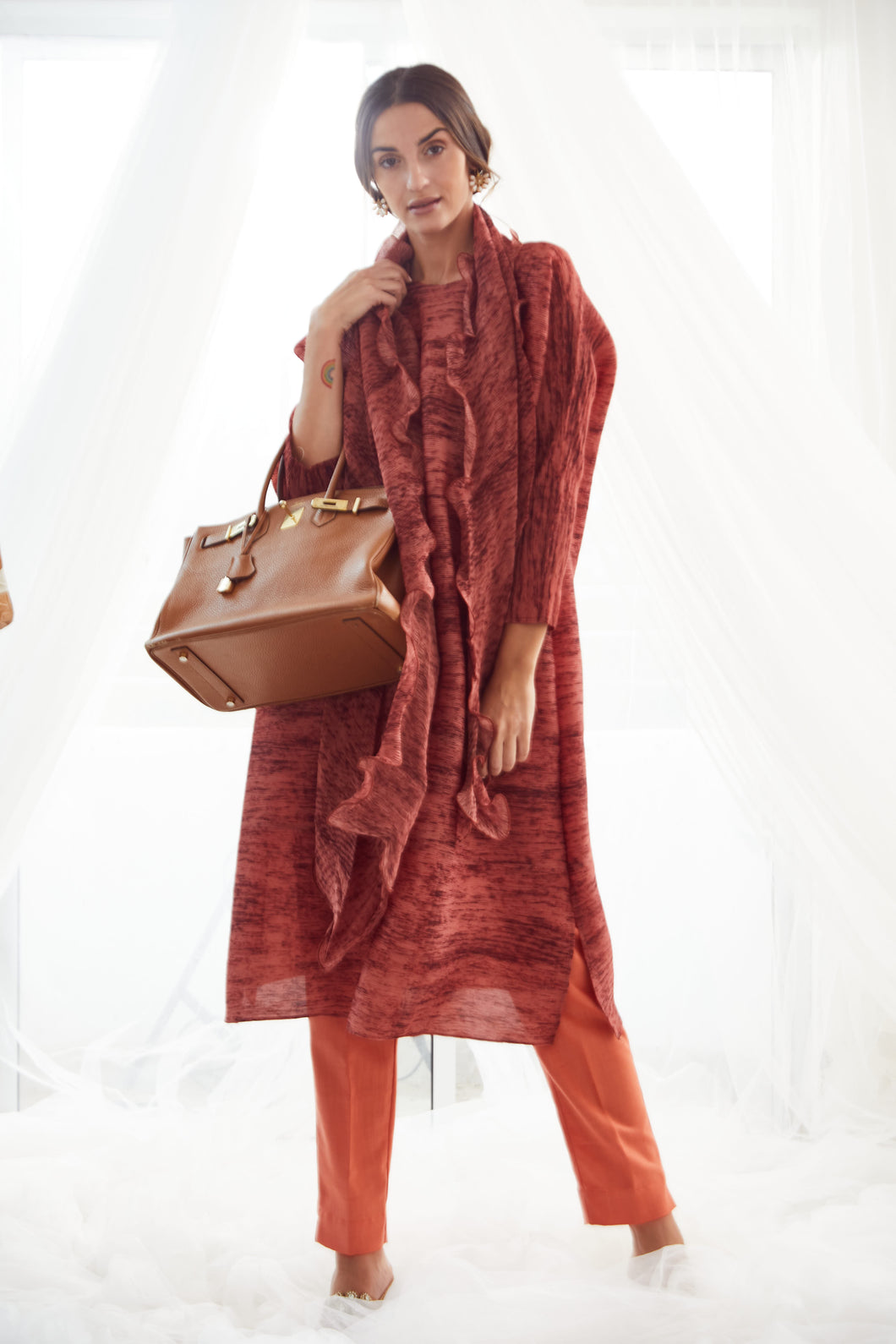 Klassy Kiara Tunic Set with Co- ordinated Scarf and Trouser - Rust