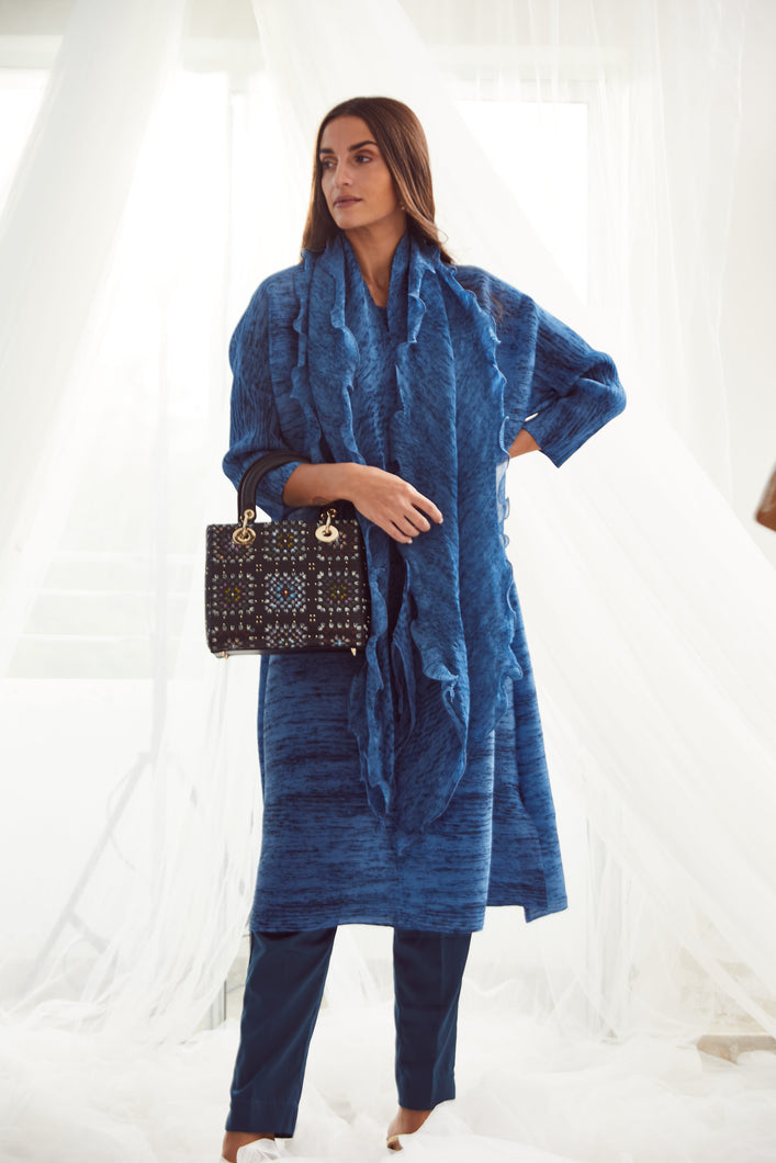 Klassy Kiara Tunic Set with Co- ordinated Scarf and Trouser - Blue