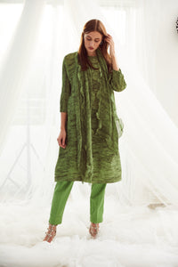 Klassy Kiara Tunic Set with Co- ordinated Scarf and Trouser - Green