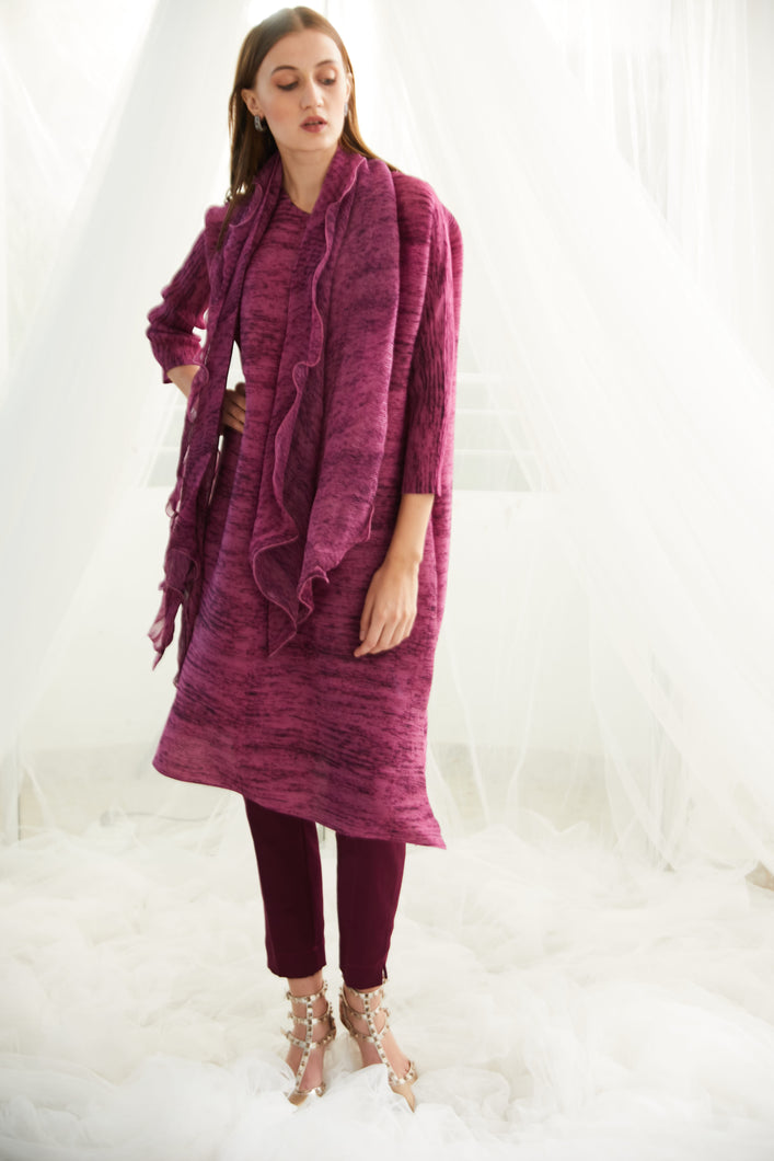 Klassy Kiara Tunic Set with Co- ordinated Scarf and Trouser - Magenta
