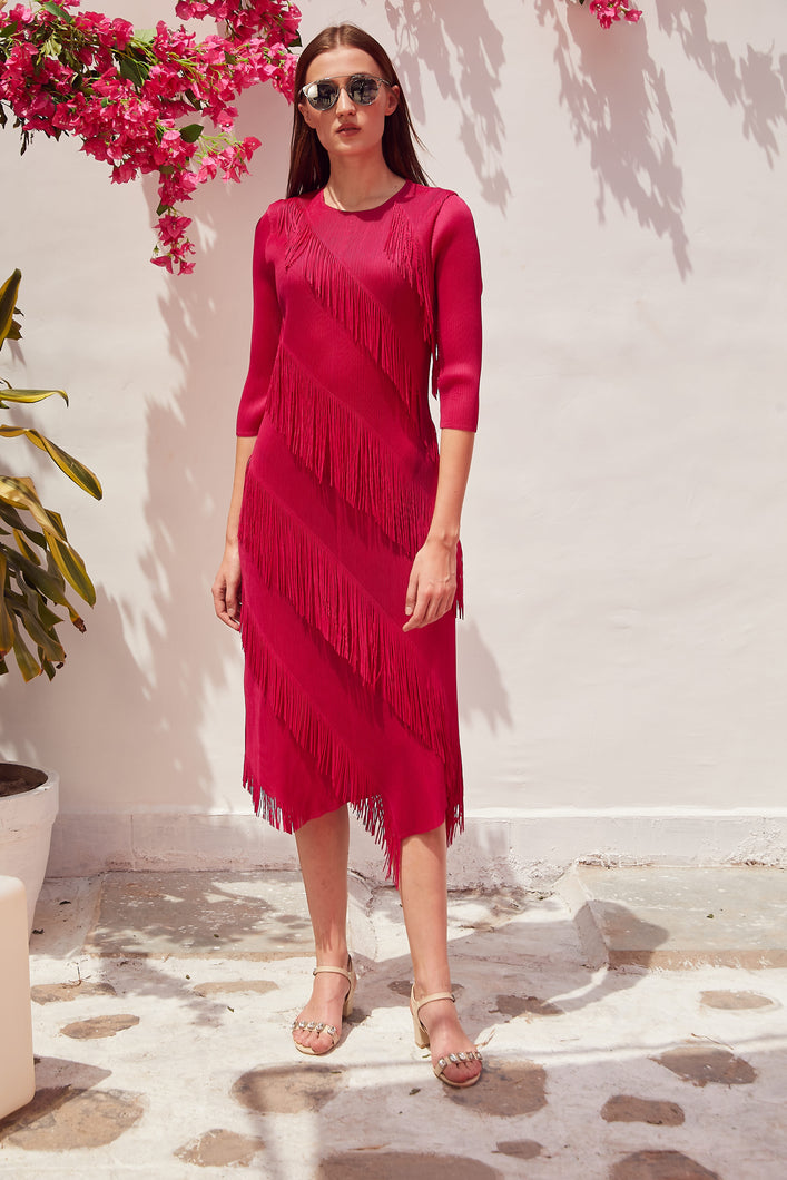 Frollic Fringe Groovy Dress - Hot Pink