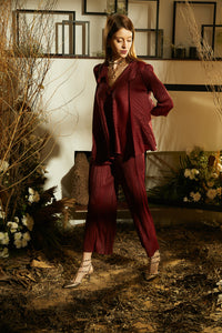 Jennifer Flared Jacket Set with Pants - Burgandy