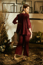 Load image into Gallery viewer, Jennifer Flared Jacket Set with Pants - Burgandy