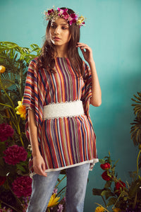 Multicolor Pleated Top with Dainty Lacy Belt