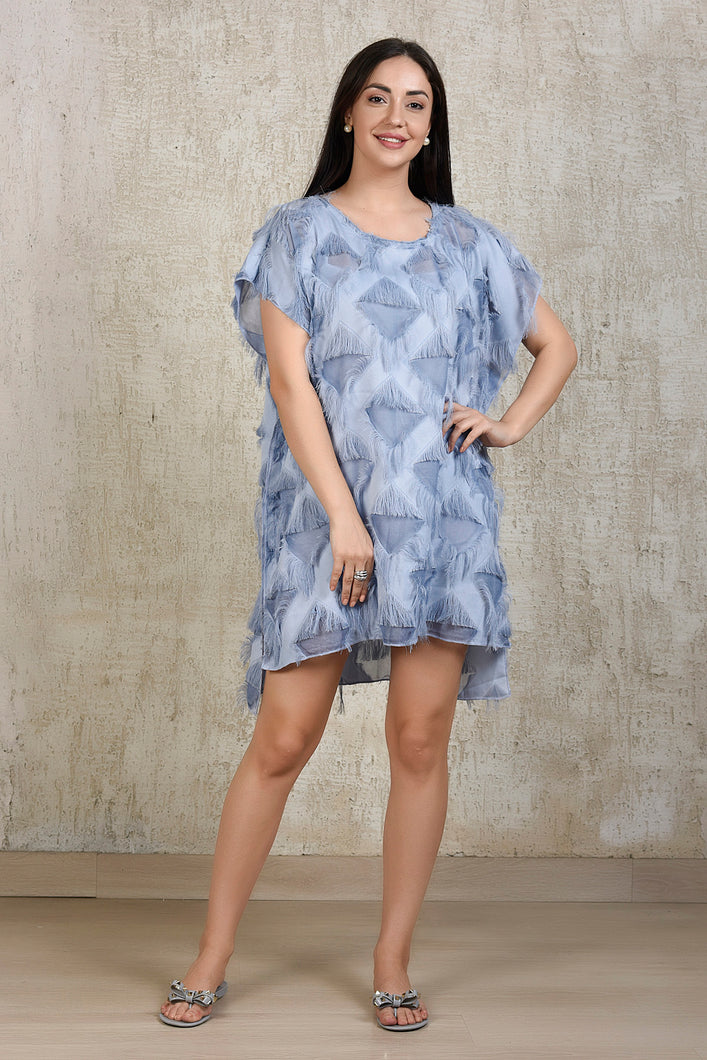 Kaftan Tassel Dress - Blue