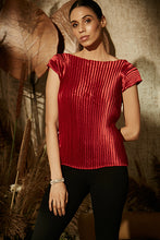 Load image into Gallery viewer, Pleated Satin Essential Top - Carmine Red