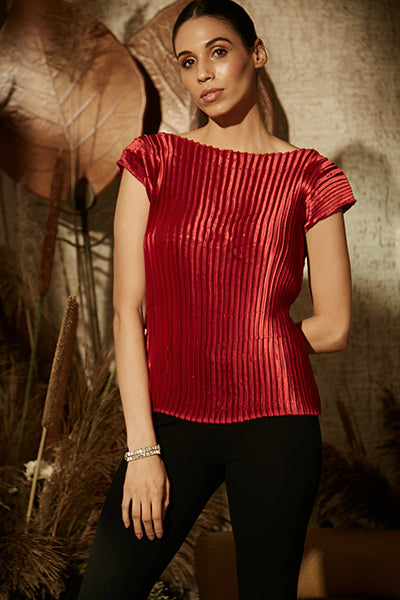 Pleated Satin Essential Top - Carmine Red