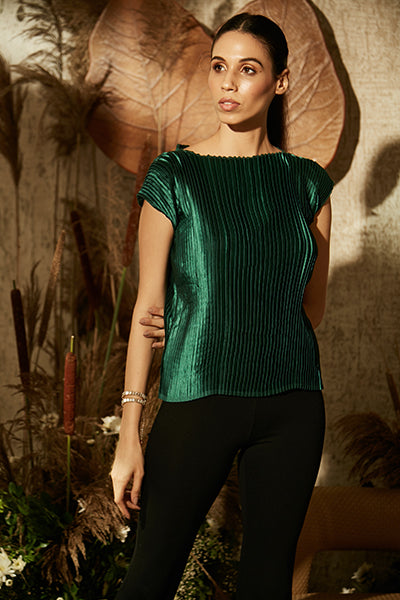 Pleated Satin Essential Top - Evergreen