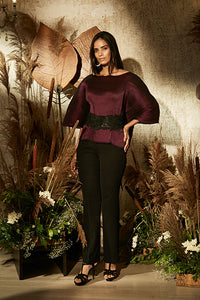 Ritzy Mulberry Top with Ornate Lace Belt