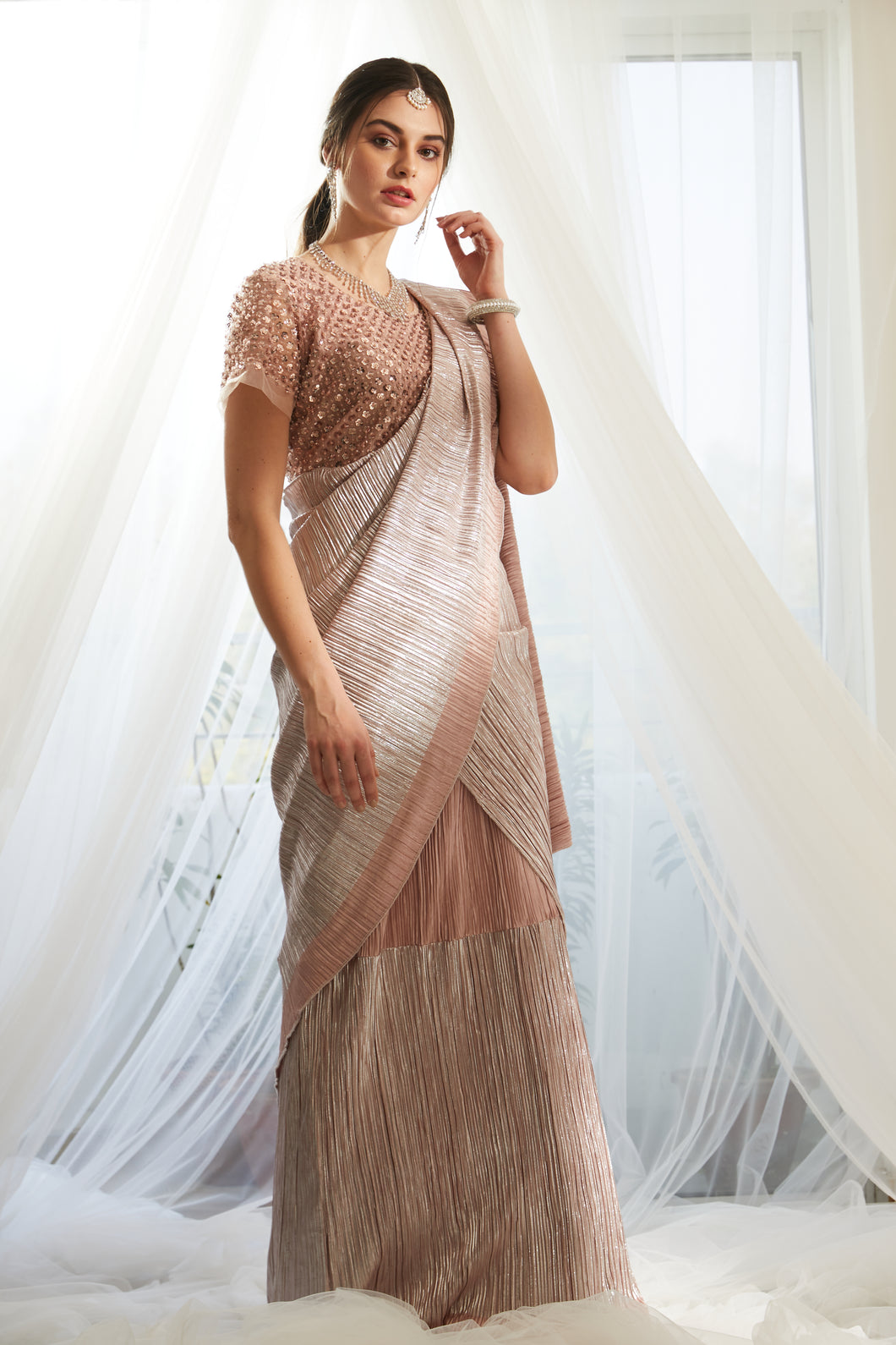Scintillating Sewed Pleated Saree With Embellished Sequence Blouse - Metallic Blush Pink