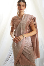 Load image into Gallery viewer, Scintillating Sewed Pleated Saree With Embellished Sequence Blouse - Metallic Blush Pink