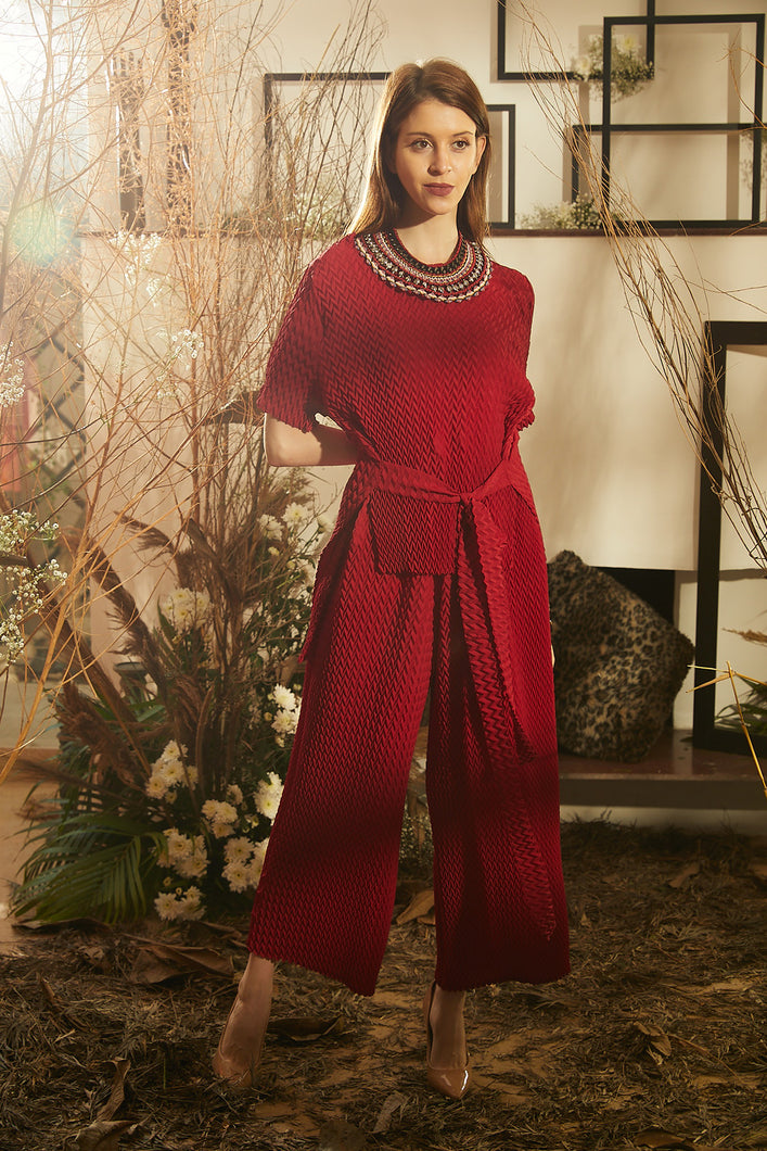 Sandara Smoked Pliśse Co-ord Set - Red