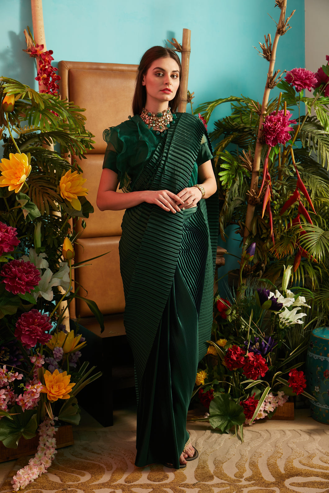 Scintillating Sewed Pleated Saree with Ruffle Blouse - Green