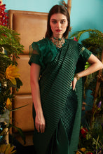 Load image into Gallery viewer, Scintillating Sewed Pleated Saree with Ruffle Blouse - Green