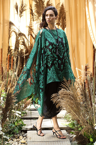 Slip-Easy Dress with Organza Cape - Black and Green