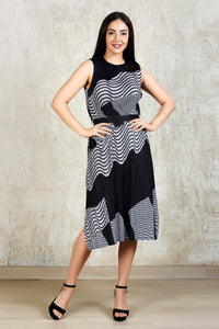 Midi Stripe Dress - Black and White