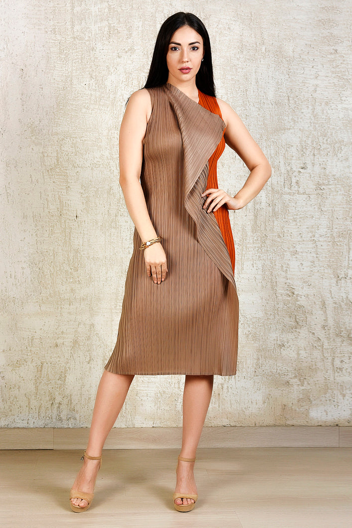 Pencil Flap Button Dress - Orange and Brown