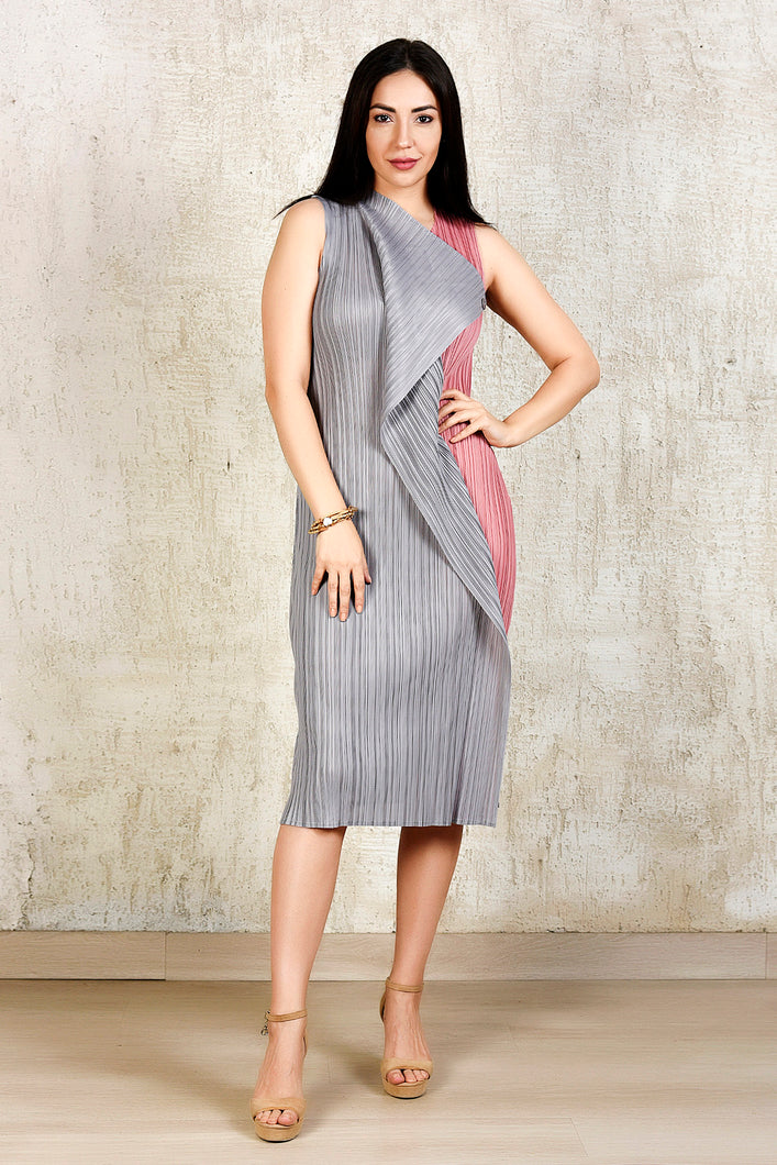 Pencil Flap Button Dress - Pink and Grey