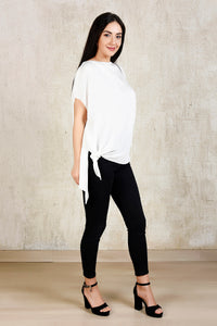 Asymetrical Tie- Knot Top - White