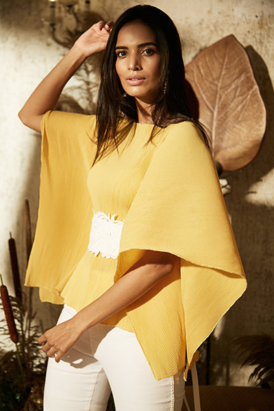 Tuscany Yellow Pleated Top with Ornate Lace Belt