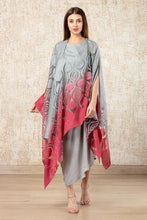 Load image into Gallery viewer, Cape Dress- Grey and Deep Pink