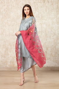 Cape Dress- Grey and Deep Pink