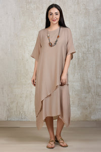 Cotton Comfort Lounge Dress - Beige