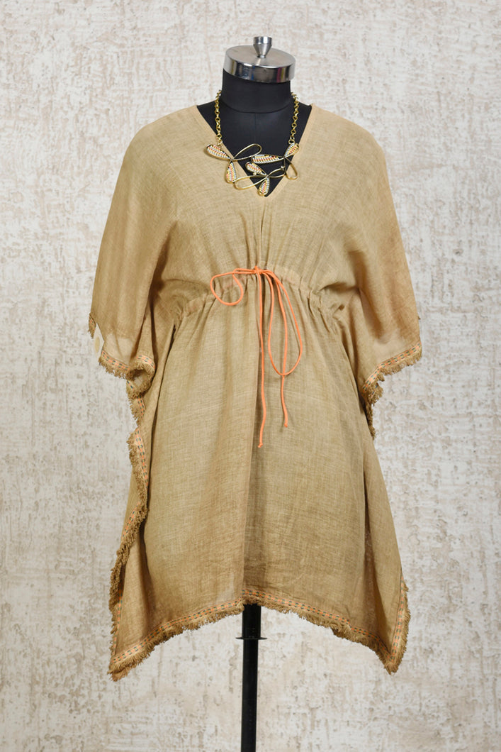 Kaftan Top With Necklace-Mustard