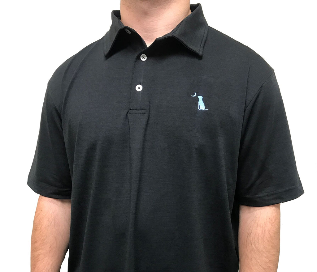HEATHERED PERFORMANCE POLO - Black