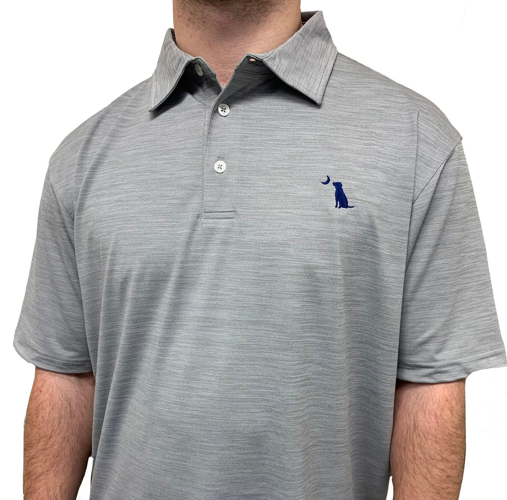 HEATHERED PERFORMANCE POLO - Gray