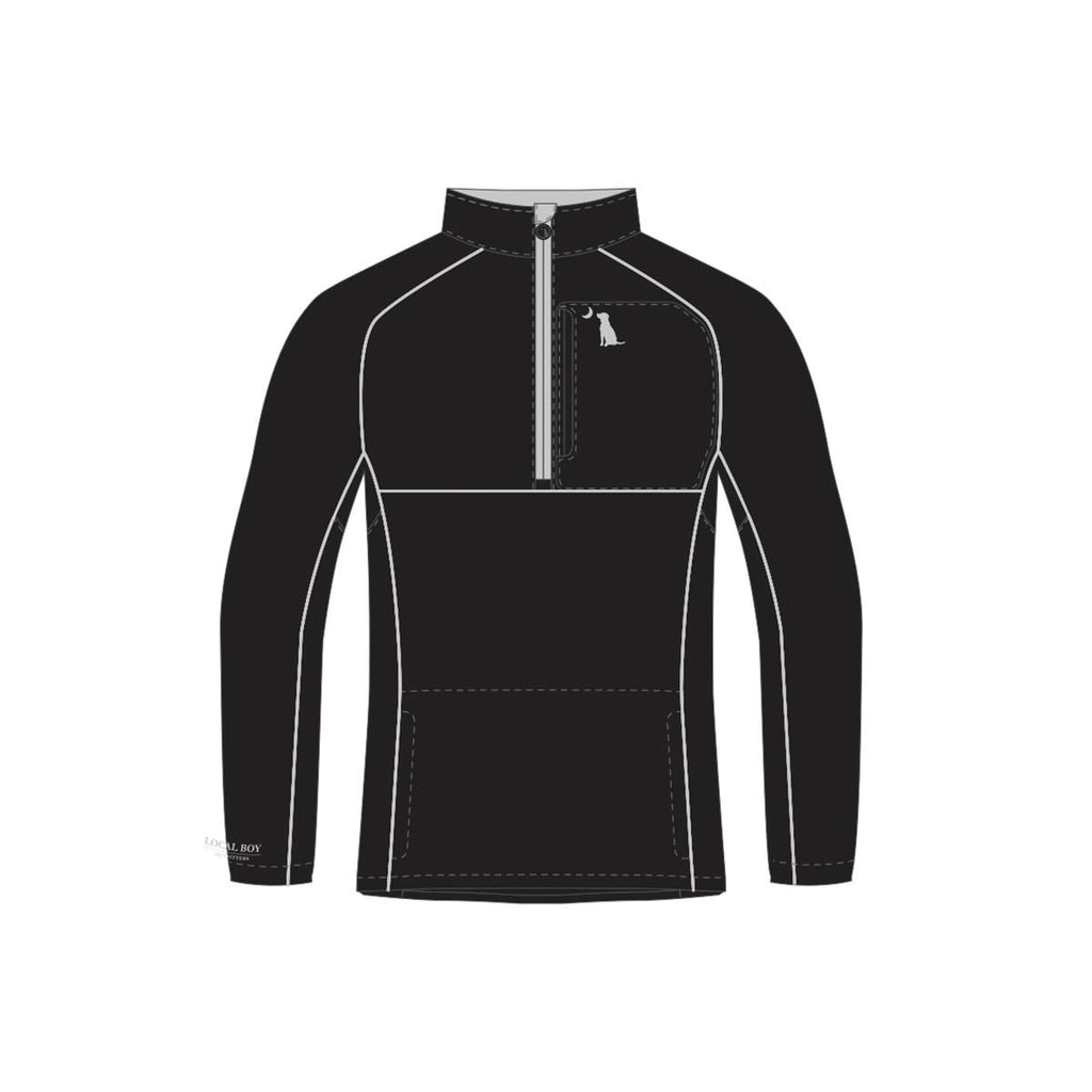 POLY/FLEECE QUARTER ZIP - Black/Gray