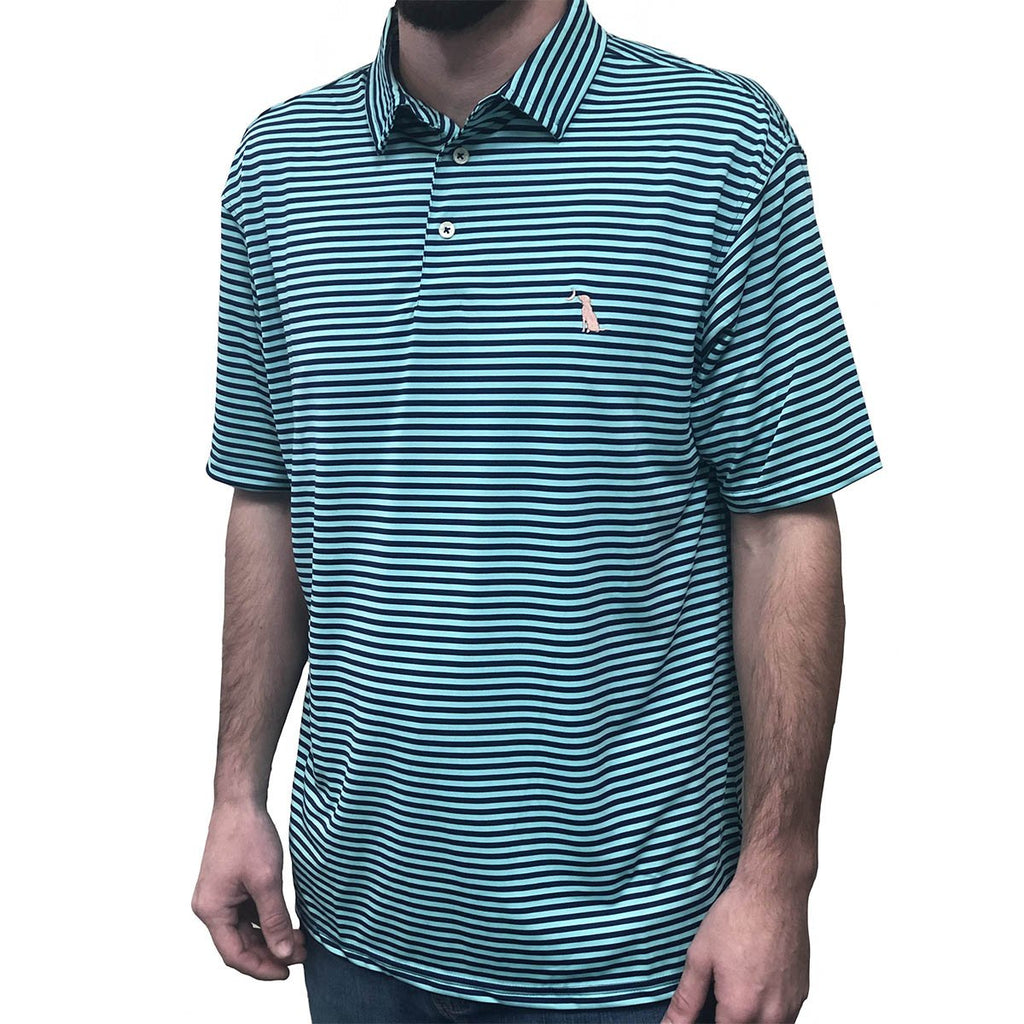 PENCIL STRIPED POLO - Turquoise/Navy