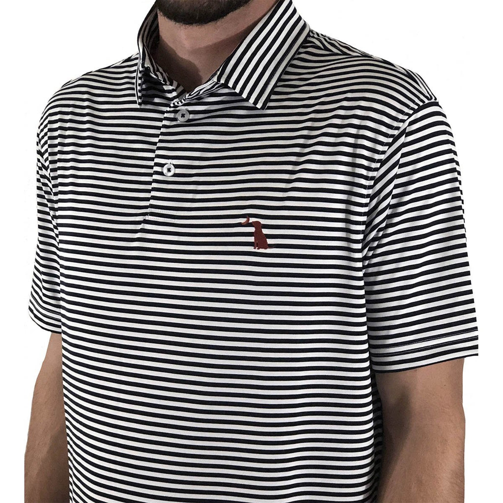 PENCIL STRIPED POLO - Black/White Stripe
