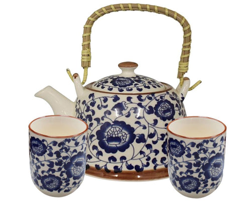 China Blue Tea Set for 2