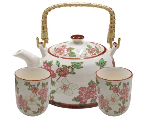 Pink Floral Tea Set for 2